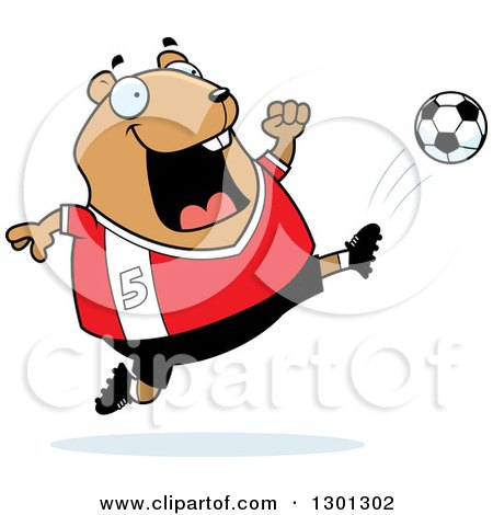 Clipart of a Cartoon Chubby Hamster Kicking a Soccer Ball - Royalty Free Vector Illustration by Cory Thoman