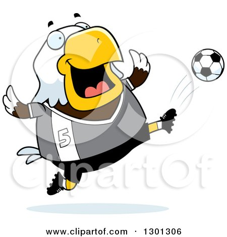 Clipart of a Cartoon Chubby Bald Eagle Bird Kicking a Soccer Ball - Royalty Free Vector Illustration by Cory Thoman