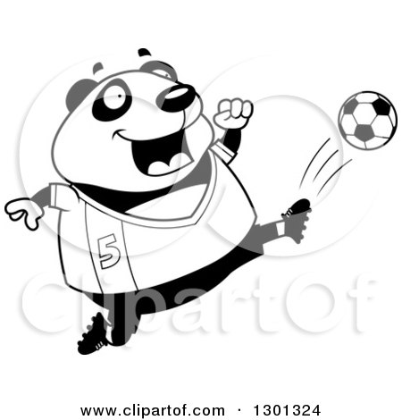 Outline Clipart of a Cartoon Black and White Chubby Panda Kicking a Soccer Ball - Royalty Free Lineart Vector Illustration by Cory Thoman