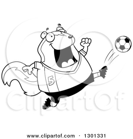 Outline Clipart of a Cartoon Black and White Chubby Skunk Kicking a Soccer Ball - Royalty Free Lineart Vector Illustration by Cory Thoman
