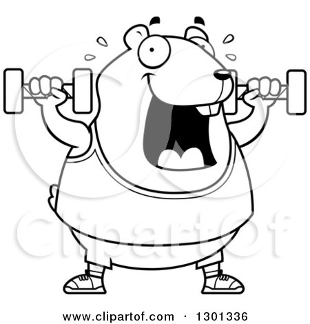 Outline Clipart of a Cartoon Black and White Chubby Hamster Working out with Dumbbells - Royalty Free Lineart Vector Illustration by Cory Thoman