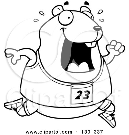 Outline Clipart of a Cartoon Black and White Sweaty Chubby Hamster Running a Track and Field Race - Royalty Free Lineart Vector Illustration by Cory Thoman
