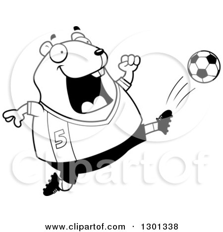 Outline Clipart of a Cartoon Black and White Chubby Hamster Kicking a Soccer Ball - Royalty Free Lineart Vector Illustration by Cory Thoman