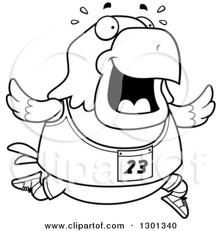 Outline Clipart of a Cartoon Black and White Sweaty Chubby Bald Eagle Bird Running a Track and Field Race - Royalty Free Lineart Vector Illustration by Cory Thoman