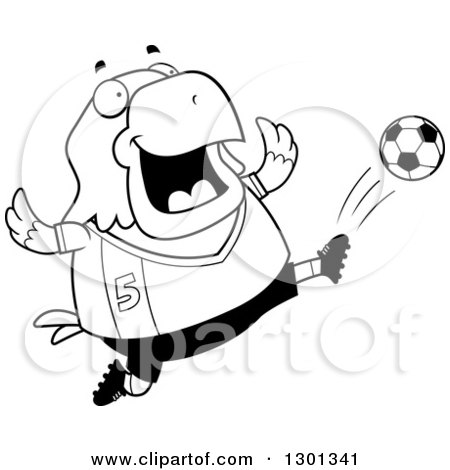 Outline Clipart of a Cartoon Black and White Chubby Bald Eagle Bird Kicking a Soccer Ball - Royalty Free Lineart Vector Illustration by Cory Thoman