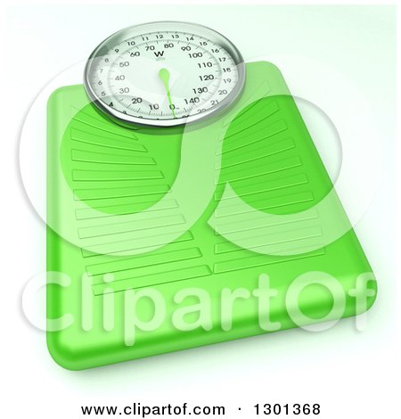 Clipart of a 3d Lime Green Body Weight Scale on White - Royalty Free Illustration by Frank Boston