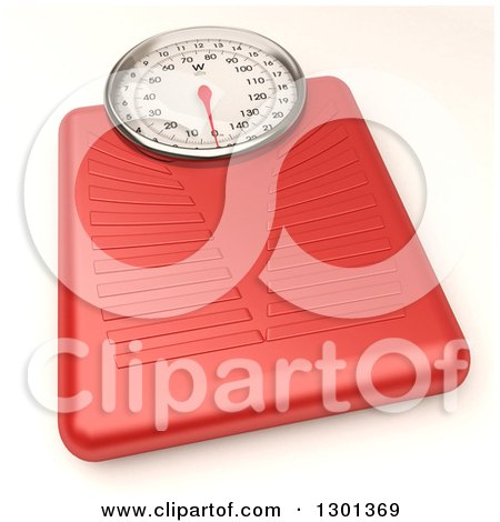 Clipart of a 3d Red Body Weight Scale on White - Royalty Free Illustration by Frank Boston