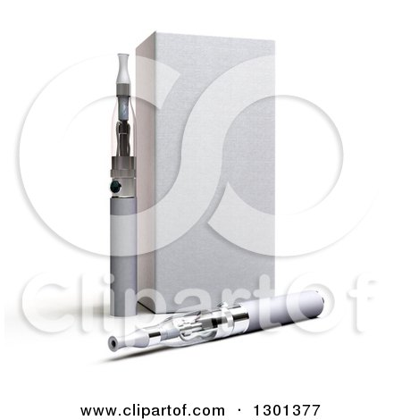 Clipart of a 3d Box and Silver E Cigarettes on Shaded White - Royalty Free Illustration by Frank Boston