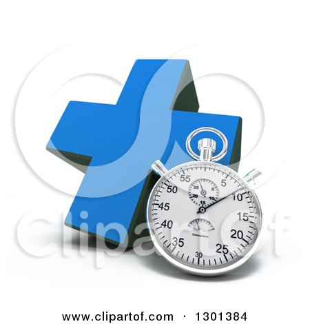 Clipart of a 3d Blue Naturopathic Medicine Cross with a Stopwatch - Royalty Free Illustration by Frank Boston