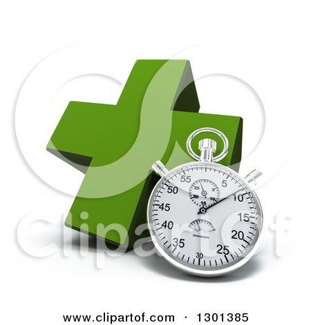 Clipart of a 3d Green Naturopathic Medicine Cross with a Stopwatch - Royalty Free Illustration by Frank Boston
