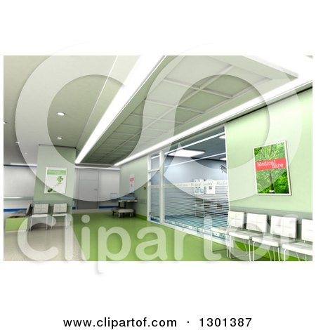 Clipart of a 3d Modern Green Clinic Operating Room and Lobby - Royalty Free Illustration by Frank Boston