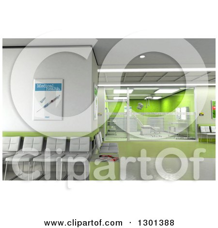 Clipart of a 3d Modern Green Clinic Operating Room and Lobby 2 - Royalty Free Illustration by Frank Boston