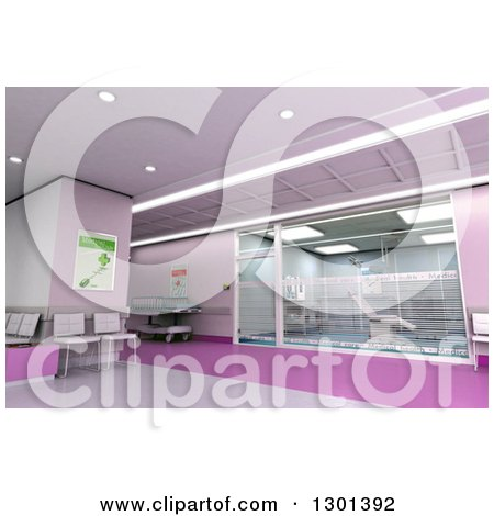 Clipart of a 3d Purple and Pink Modern Clinic Operating Room and Lobby - Royalty Free Illustration by Frank Boston