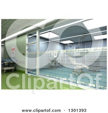 Clipart of a 3d Modern Green Clinic Operating Room - Royalty Free Illustration by Frank Boston