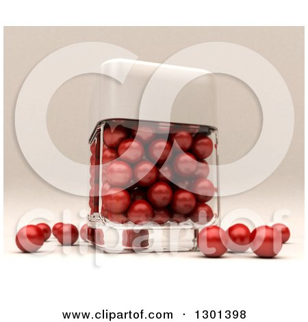Clipart of a 3d Clear Glass Container with Red Pearls - Royalty Free Illustration by Frank Boston