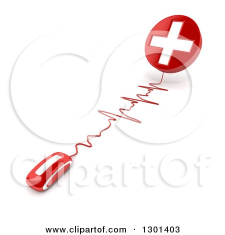 Clipart of a 3d Red Computer Mouse Wired to a First Aid Medical Cross, on Shaded White - Royalty Free Illustration by Frank Boston