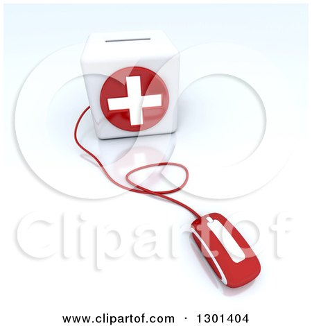 Clipart of a 3d Red Computer Mouse Wired to a First Aid Medical Cross Donation Box, on Shaded White - Royalty Free Illustration by Frank Boston