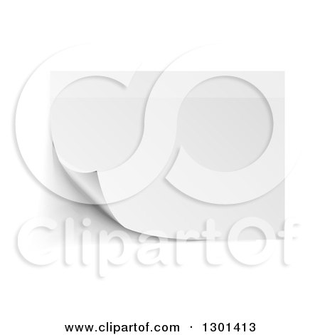 Clipart of a Blank 3d Piece of Paper with a Turning Corner on White - Royalty Free Vector Illustration by vectorace