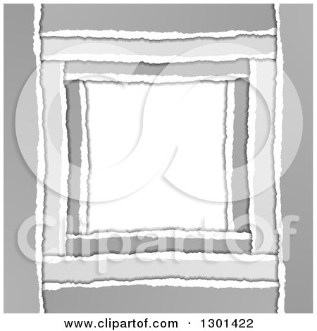 Clipart of a Grayscale Torn Paper Frame Background with White Text Space - Royalty Free Vector Illustration by vectorace