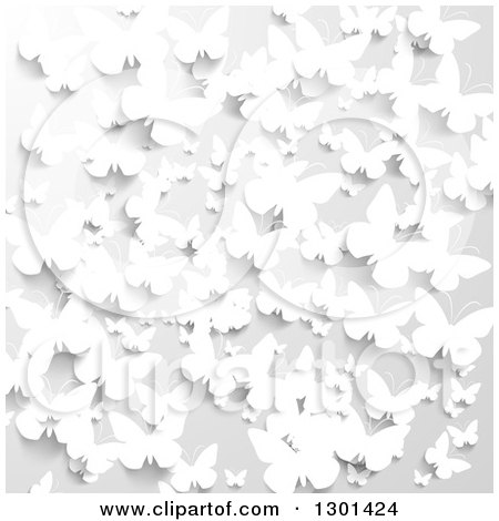 Clipart Of A 3d Grayscale Background Of Paper Butterflies