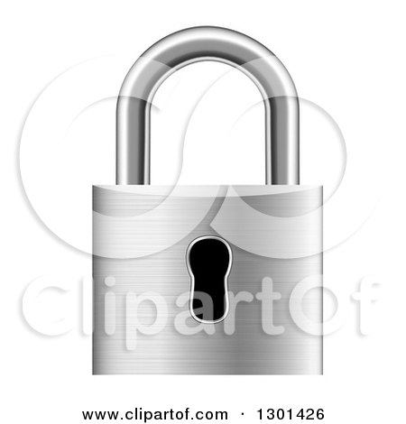 Clipart of a 3d Silver Metal Padlock - Royalty Free Vector Illustration by vectorace