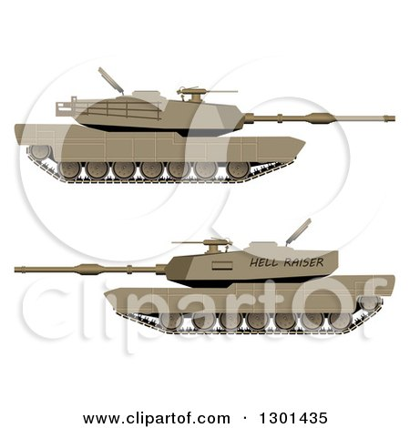 Clipart of 3d WW2 Military Tanks - Royalty Free Vector Illustration by vectorace