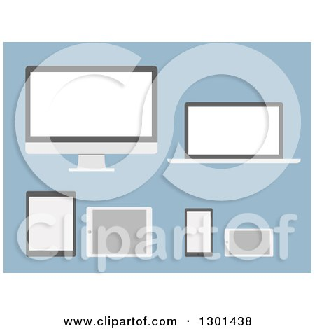 Clipart of Modern Flat Design Gadgets and Devices on Blue - Royalty Free Vector Illustration by vectorace