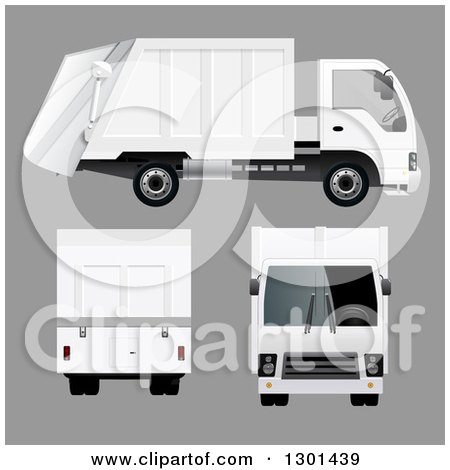 Clipart of a 3d White Garbage Truck at Different Angles, on Gray - Royalty Free Vector Illustration by vectorace