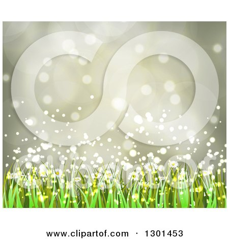 Clipart of a Spring Time Background of Daisy Flowers and Grass over Flares 4 - Royalty Free Vector Illustration by vectorace