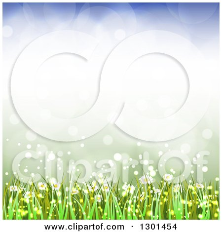 Clipart of a Spring Time Background of Daisy Flowers and Grass over Flares 2 - Royalty Free Vector Illustration by vectorace