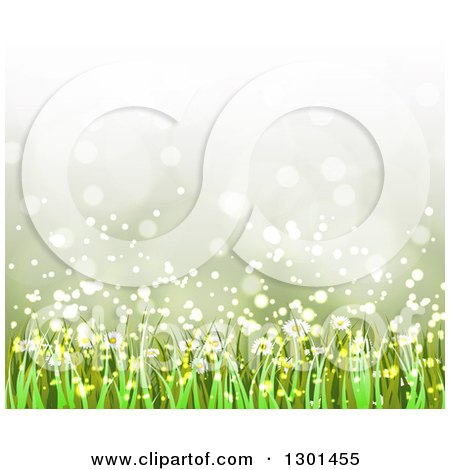 Clipart of a Spring Time Background of Daisy Flowers and Grass over Flares 3 - Royalty Free Vector Illustration by vectorace