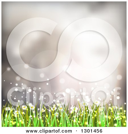 Clipart of a Spring Time Background of Daisy Flowers and Grass over Flares - Royalty Free Vector Illustration by vectorace