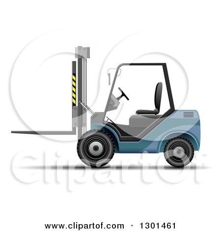 Clipart of a 3d Blue Forklift Machine on White - Royalty Free Vector Illustration by vectorace