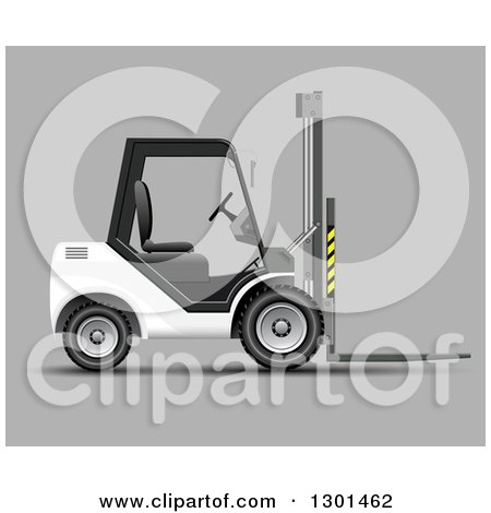 Clipart of a 3d White Forklift Machine on Gray - Royalty Free Vector Illustration by vectorace