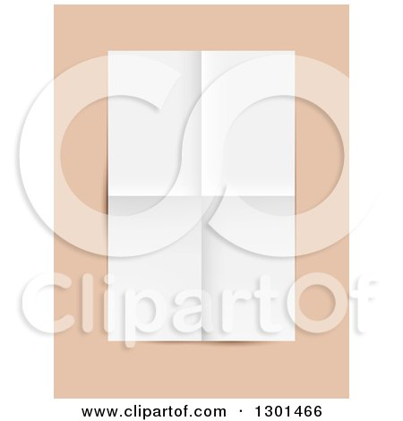 Clipart of a 3d Blank Piece of Paper with Folded Crease Lines, over Peach - Royalty Free Vector Illustration by vectorace