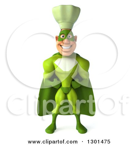 Clipart of a 3d Green Caucasian Male Super Chef - Royalty Free Illustration by Julos