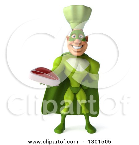 Clipart of a 3d Green Caucasian Male Super Chef Holding a Beef Steak - Royalty Free Illustration by Julos