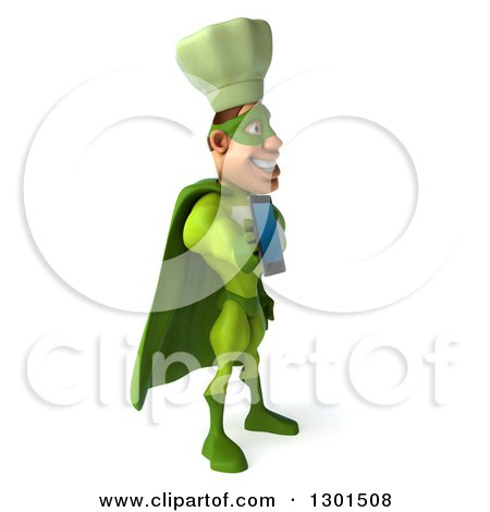 Clipart of a 3d Green Caucasian Male Super Chef Facing Right and Holding out a Smart Cell Phone - Royalty Free Illustration by Julos