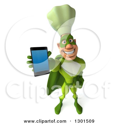 Clipart of a 3d Green Caucasian Male Super Chef Holding up a Smart Cell Phone - Royalty Free Illustration by Julos
