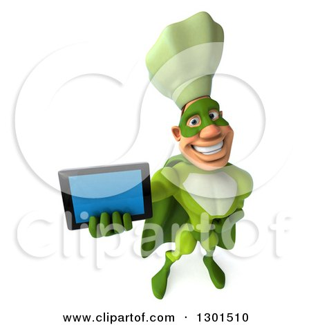 Clipart of a 3d Green Caucasian Male Super Chef Holding up a Tablet Computer - Royalty Free Illustration by Julos