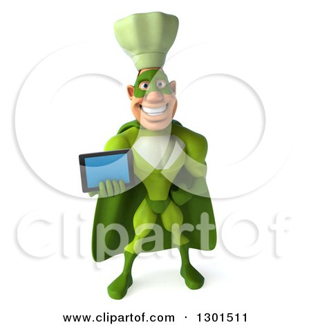 Clipart of a 3d Green Caucasian Male Super Chef Holding out a Tablet Computer - Royalty Free Illustration by Julos