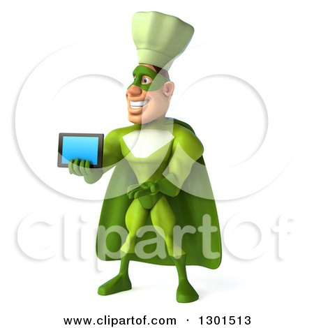 Clipart of a 3d Green Caucasian Male Super Chef Facing Slightly Left, Presenting and Holding out a Tablet Computer - Royalty Free Illustration by Julos
