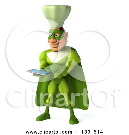 Clipart of a 3d Green Caucasian Male Super Chef Facing Slightly Left and Using a Tablet Computer - Royalty Free Illustration by Julos