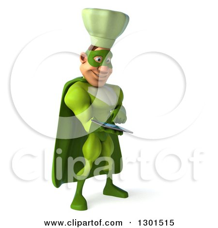 Clipart of a 3d Green Caucasian Male Super Chef Facing Slightly Right and Using a Tablet Computer - Royalty Free Illustration by Julos