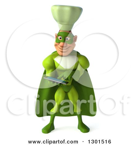 Clipart of a 3d Green Caucasian Male Super Chef Using a Tablet Computer - Royalty Free Illustration by Julos