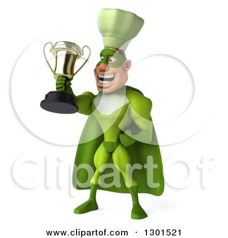 Clipart of a 3d Green Caucasian Male Super Chef Proudly Holding a Gold Trophy - Royalty Free Illustration by Julos