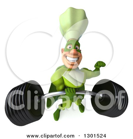 Clipart of a 3d Green Caucasian Male Super Chef Lifting a Heavy Barbell One Handed - Royalty Free Illustration by Julos