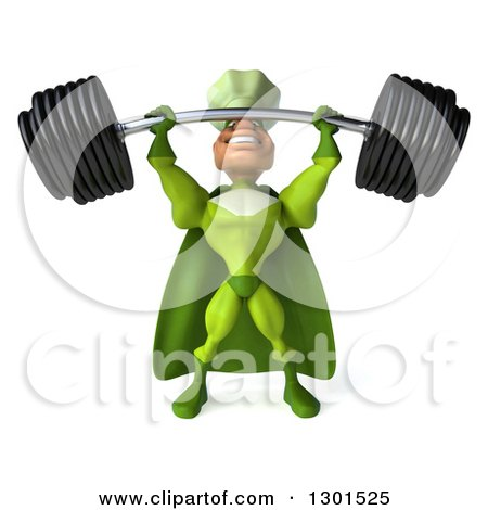 Clipart of a 3d Green Caucasian Male Super Chef Lifting a Heavy Barbell - Royalty Free Illustration by Julos