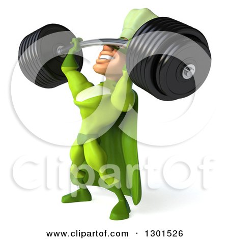 Clipart of a 3d Green Caucasian Male Super Chef Facing Left and Lifting a Heavy Barbell - Royalty Free Illustration by Julos