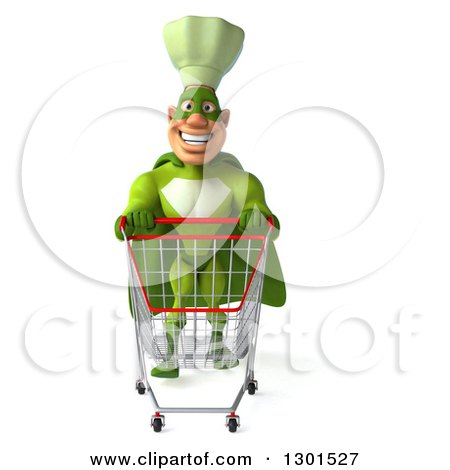 Clipart of a 3d Green Caucasian Male Super Chef Pushing an Empty Shopping Cart - Royalty Free Illustration by Julos